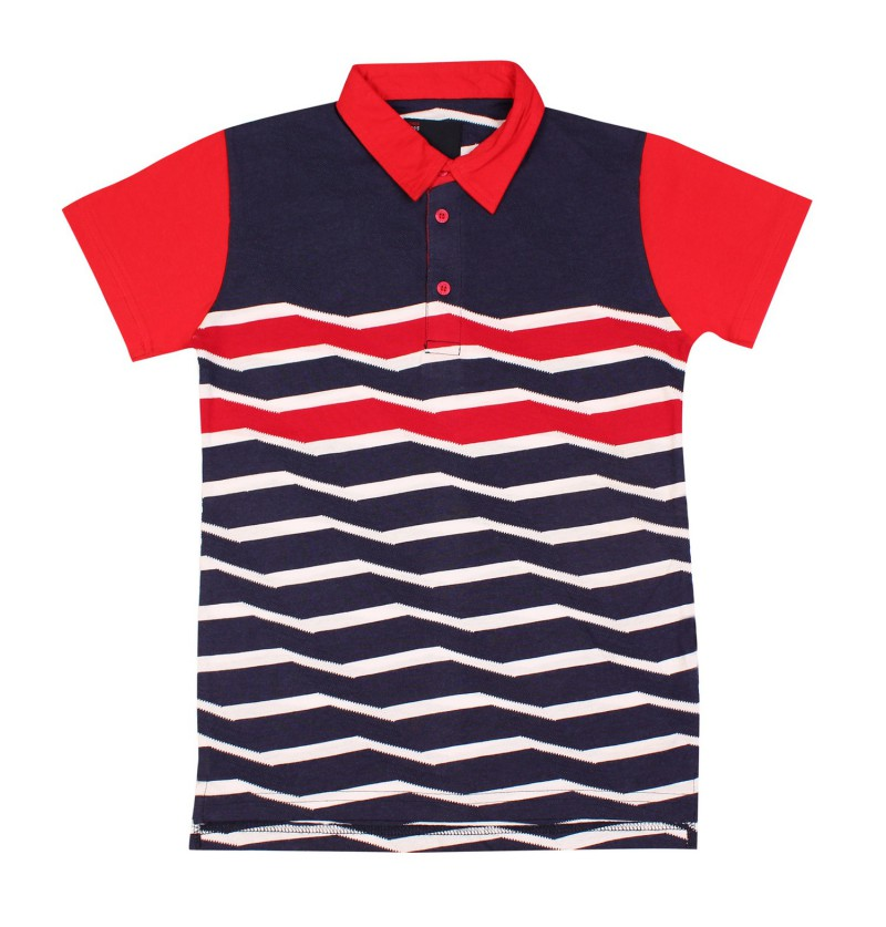 Wave Striped Navy Blue T-Shirt