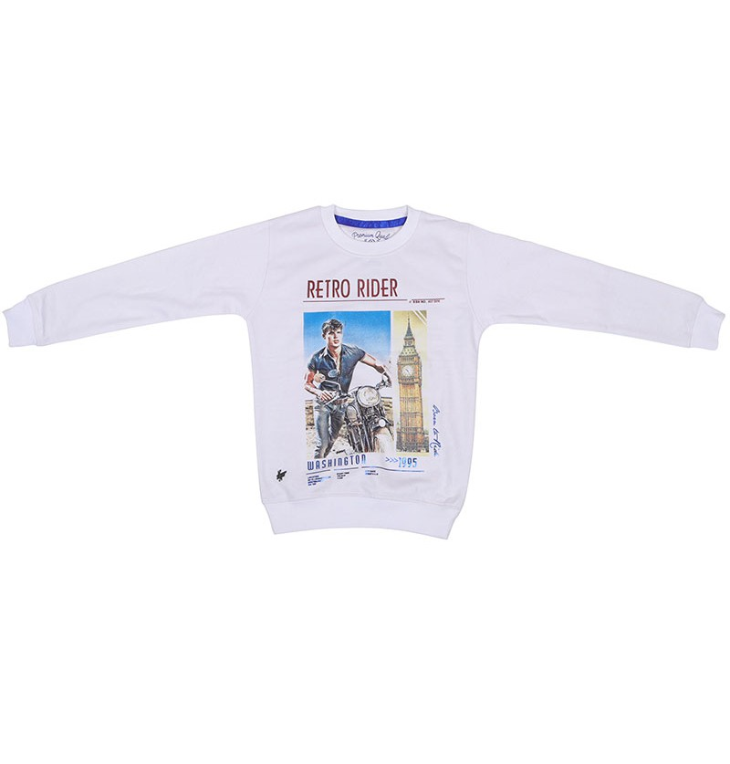 Retro Rider White Sweatshirt